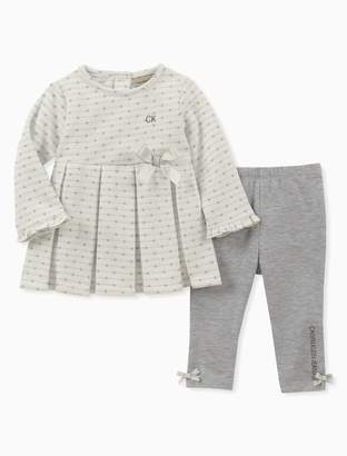 Calvin Klein girls 2-piece polka dot tunic + solid leggings