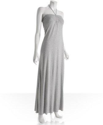 linQ heather grey jersey halter maxi dress