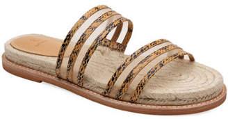 Bill Blass Rory Snake-Print and Mesh Slide Sandals