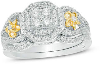 Zales 1/2 CT. T.W. Quad Diamond Double Octagonal Frame Collar Flower Bridal Set in 10K Two-Tone Gold