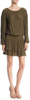 Ramy Brook Sheryl Studded Long-Sleeve Mini Dress