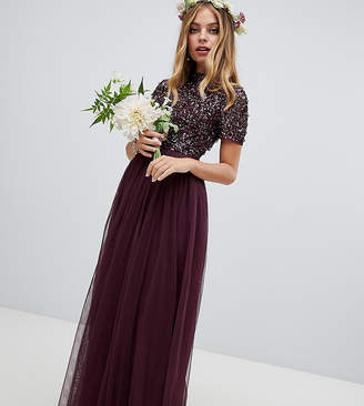 Maya Petite high neck maxi tulle dress with tonal delicate sequins in berry