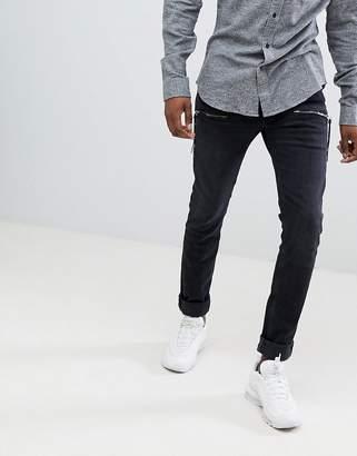 Replay andov skinny stretch jeans zip detail in black