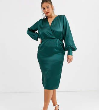 Asos Design DESIGN Curve exclusive balloon sleeve satin midi dress