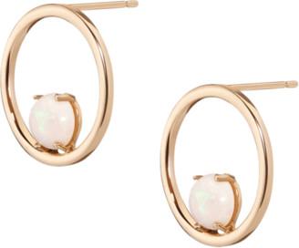 AUrate New York Simple Opal Hoop Earrings