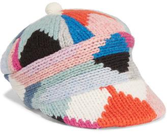 Patchwork Wool-blend Cap - Pink