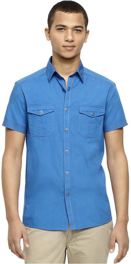 Kenneth Cole Reaction Shirt, Short Sleeve Ring Snap Shirt