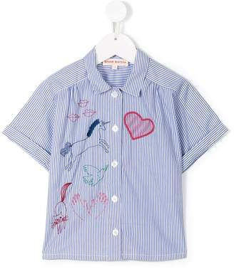 Anne Kurris embroidered short sleeve striped shirt