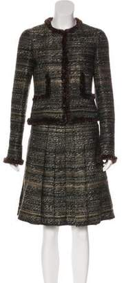 Chanel Fur-Trimmed Tweed Skirt Suit