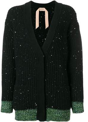 No.21 wool-blend cardigan with sequins