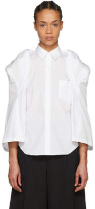 Comme des Garcons White Sculptural Sleeve Broadcloth Shirt