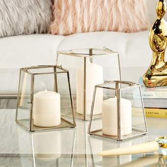 """Cosmoliving By Cosmopolitan CosmoLiving Large Modern Silver Metal & Glass Trapezoid Hanging Lantern Candle Holders with Handles 