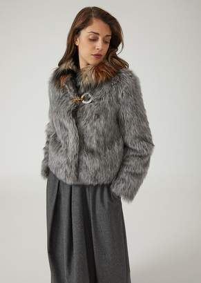Emporio Armani Faux-Fur Coat With Contrasting Collar And Metal Hook
