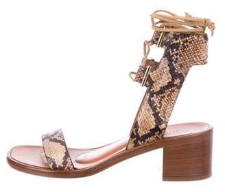 Rosetta Getty Embossed Leather Strap Sandals