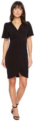 Catherine Malandrino Nyla V-Neck Short Sleeve Twist Front Midi Dress Women's Dress