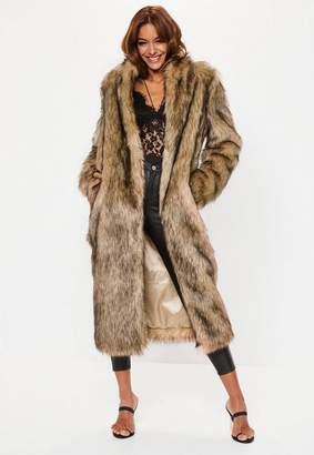 Missguided Tan Tipped Faux Fur Maxi Coat