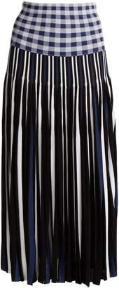 Sonia Rykiel Pleated knitted gingham skirt