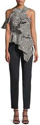 Self-Portrait Abstract-Stripe Asymmetric Ruffle Jumpsuit