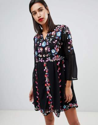 French Connection Edith Floral Embroidered Dress
