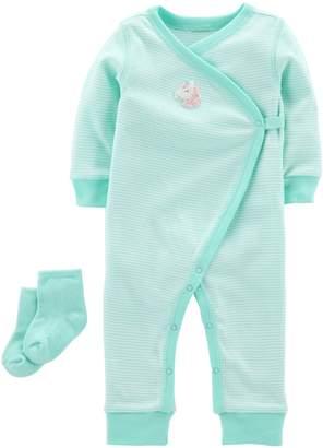 Carter's Baby Girl Striped Unicorn Jumpsuit & Socks Set