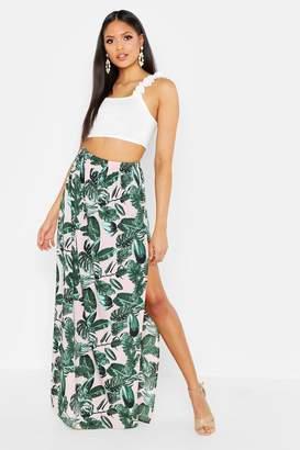 boohoo Tall Palm Print Side Split Maxi Skirt
