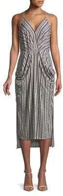 BCBGeneration Sage Birchy Stripes Surplice Midi Dress