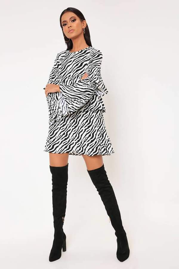 Isawitfirst Black/White Zebra Print Pleated Sheer Smock Dress