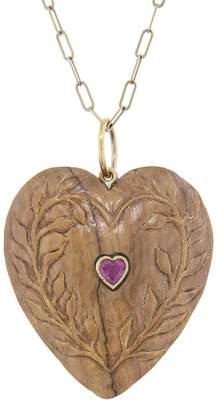 Cathy Waterman Pink Tourmaline and Burl Wood Heart Charm