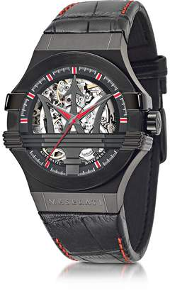 Maserati Black Stainless Steel Case and Leather Strap Men's Watch
