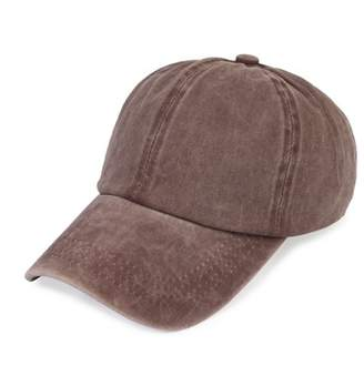 Riah Fashion BROWN WASHED OUT BASEBALL CAP