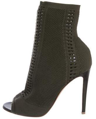 Gianvito Rossi Knit Peep-Toe Ankle Boots Green Knit Peep-Toe Ankle Boots