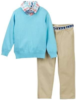 Beetle & Thread Plaid Dress Shirt, Bow Tie, V-Neck Sweater & Twill Pant Set (Baby Boys)