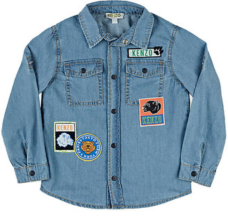 Kenzo Badge-Patchwork Chambray Shirt $118 thestylecure.com