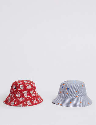 6db644e5 Marks and Spencer Kids 2 Pack Sun Bucket Hats (0 Month - 6 Years)