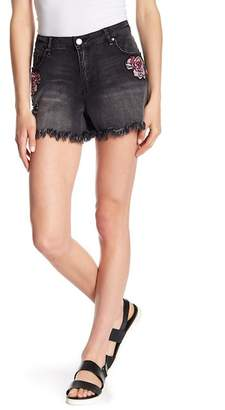 William Rast High Waist Embroidered Frayed Denim Shorts
