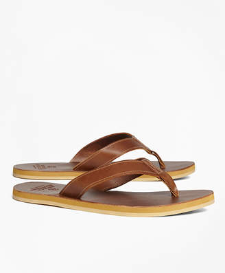 Brooks Brothers Leather Flip-Flops