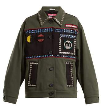 Miu Miu - Bead And Crystal Embellished Cotton Blend Jacket - Womens - Green