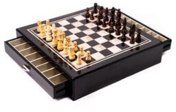 Bey-Berk Mother-of-Pearl Inlaid Wood Chess Board