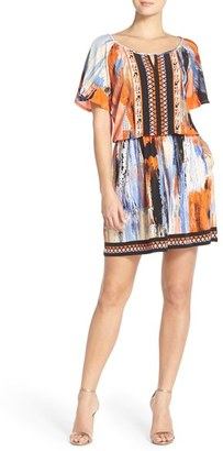 Women's Eci Embellished Print Jersey Blouson Dress $78 thestylecure.com
