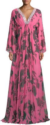 Carolina Herrera Jeweled V-Neck Floral-Chiffon Caftan Gown