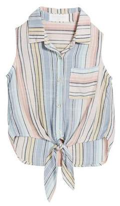 Bella Dahl Multi-Stripe Tie-Front Top, Size 8-14