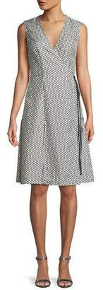 Diane von Furstenberg Sleeveless Silk Side-Tie Flare Dress