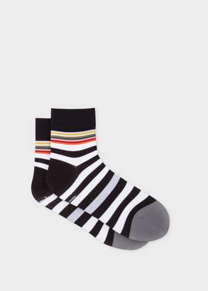Paul Smith Mens Black And White Stripe Cycling Socks