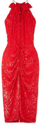 Magda Butrym Hilo Ruched Sequined Chiffon Midi Dress - Red