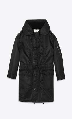 Saint Laurent Shearling Lined Oversized Nylon Parka
