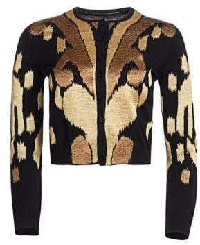 Oscar de la Renta Embroidered Virgin Wool Cardigan