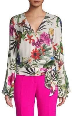 Parker Isabella Crossover Front Floral Print Blouse