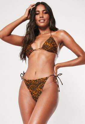 38d3c874d6f Missguided Brown Tortoise Shell Mix And Match Tie Side High Leg Boomerang Bikini  Bottoms