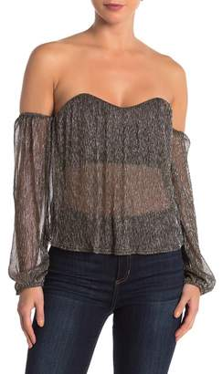Dee Elly Metallic Bustier Off-the-Shoulder Blouse