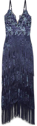 Marchesa Fringed Embroidered Tulle Gown - Blue